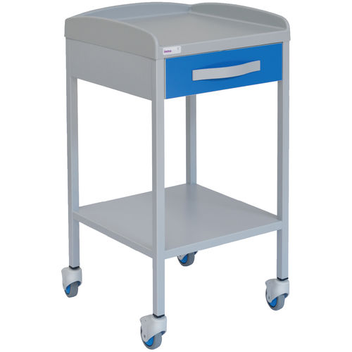 auxiliary instrument table / 2-shelf / on casters / painted steel