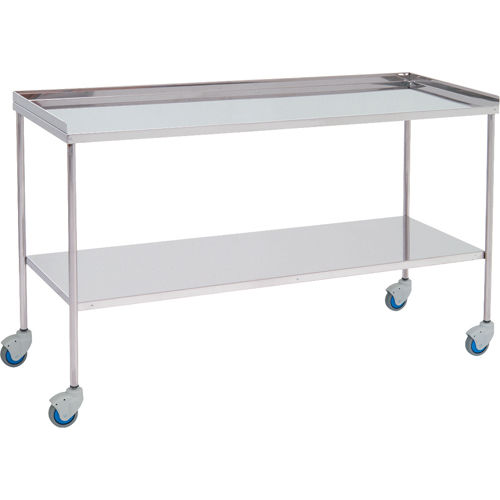 auxiliary instrument table / 2-shelf / on casters / stainless steel