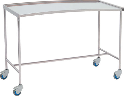 auxiliary instrument table / with shelves / on casters / stainless steel