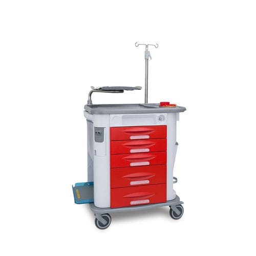 emergency trolley / medication / with drawer / with IV pole