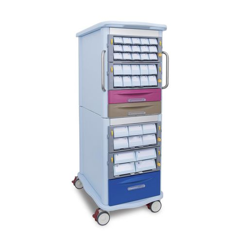 logistics trolley / medicine / 2-drawer / with cassettes
