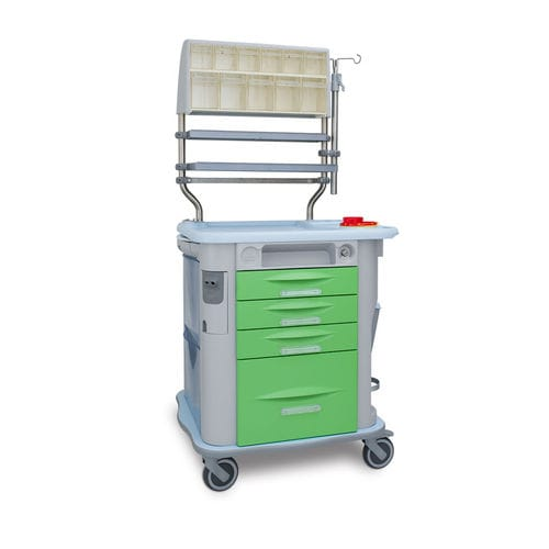 treatment trolley / 3-drawer / with shelf / with cassettes