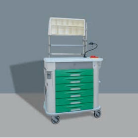 treatment trolley / with drawer / with shelf / with cassettes