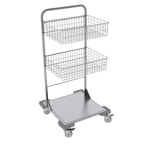 transport trolley / for sterilization baskets / with basket / stainless steel