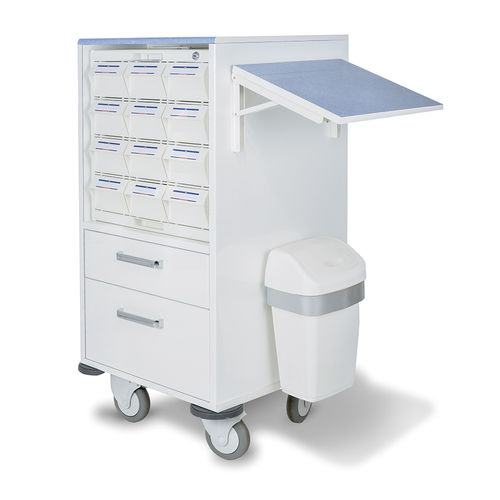 medicine distribution cart / for medicine / with drawer / with waste bin