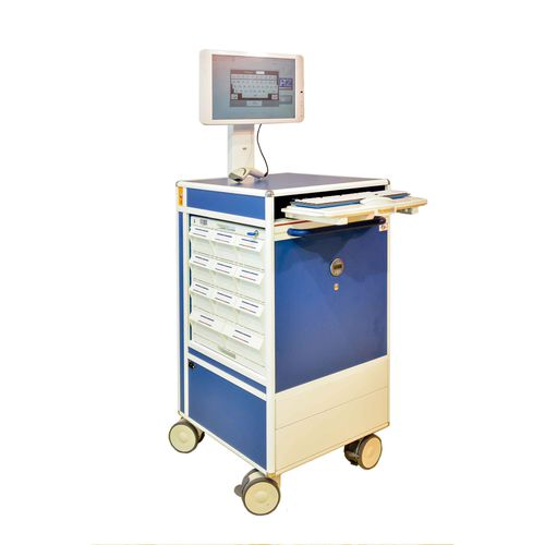 medicine distribution computer cart / with drawer