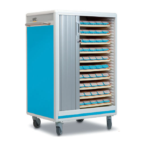 transport cart / for medicine / with tambour door / human