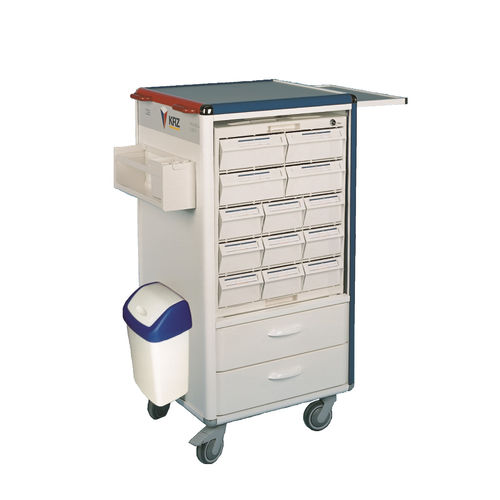 medicine distribution cart / medication / with drawer / with waste bin