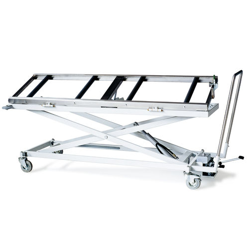 transport stretcher trolley / manual / height-adjustable / mortuary