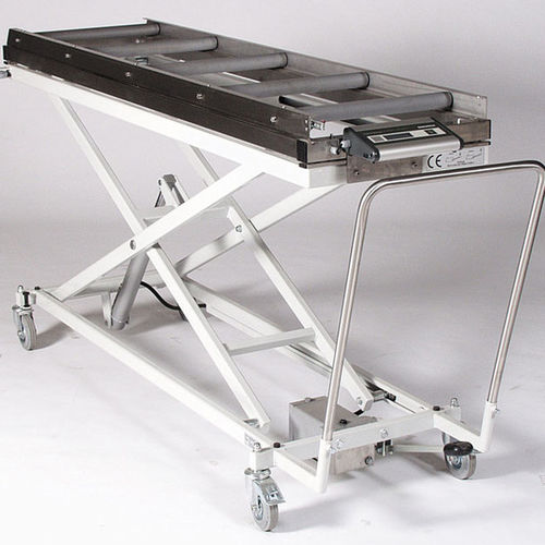 mortuary trolley / with scale / lifting / hydraulic