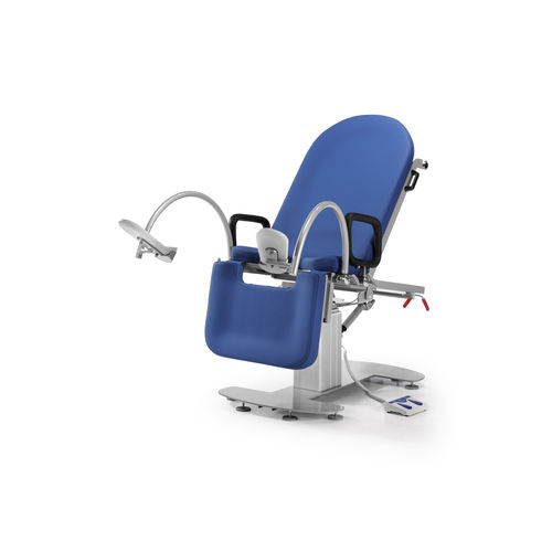 gynecological examination table / manual / height-adjustable / on casters