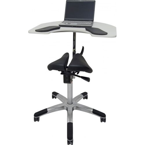 office table / U-shaped / on casters / height-adjustable
