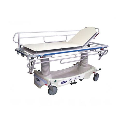 manual stretcher trolley / height-adjustable / radiolucent / trauma