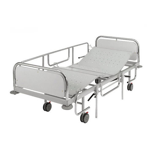 medical bed / manual / on casters / 4-section