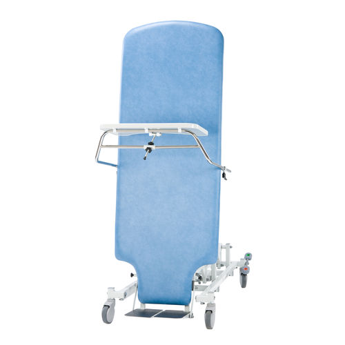1 section tilt table / height-adjustable / on casters / remote-controlled