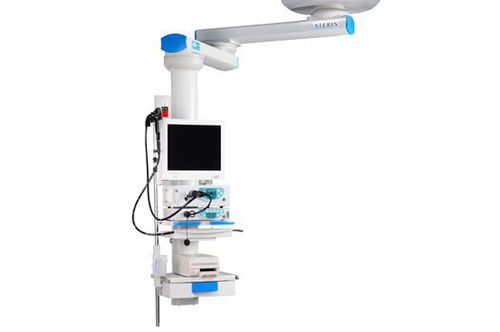 medical pendant / ceiling-mounted / with shelves / with column