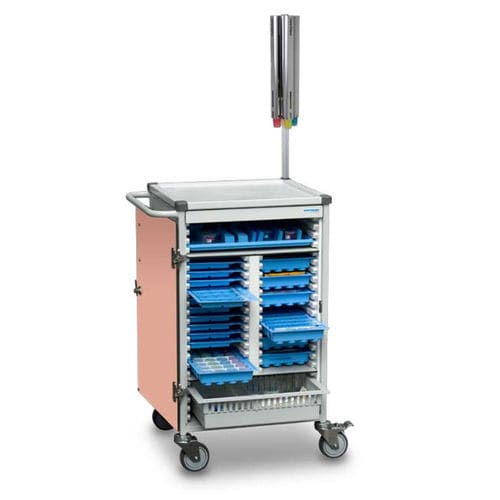 medicine distribution trolley / storage / medication / with hinged door