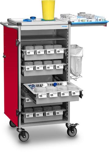 medicine distribution trolley / storage / medication / with waste bin