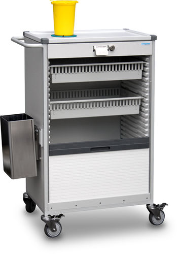 treatment trolley / for instruments / for medical records / with waste bin