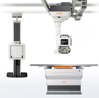 radiography system / digital / for multipurpose radiography / with ceiling-mounted telescopic tube stand