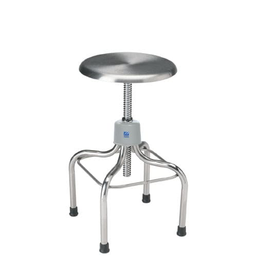 doctor's office stool / height-adjustable / rotating / stainless steel