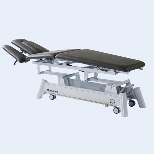 manual massage table / on casters / height-adjustable / with armrests