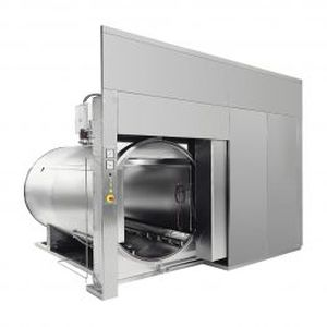 medical sterilizer / for the pharmaceutical industry / superheated water / floor-standing