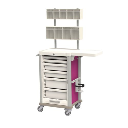 treatment trolley / equipment / for general purpose / with drawer