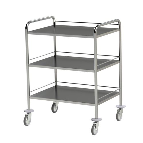 service trolley / 3-tray / stainless steel