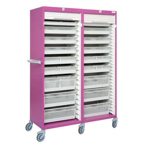hospital cabinet / with tambour door / with basket / on casters