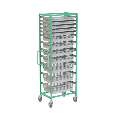 modular shelving unit / for basket storage / stainless steel