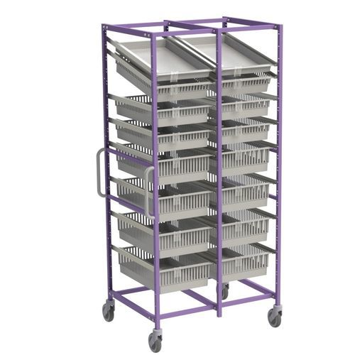 modular shelving unit / for basket storage / open-structure / stainless steel
