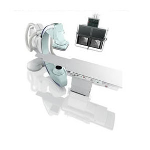fluoroscopy system / digital / for interventional fluoroscopy / with floor-mounted C-arm