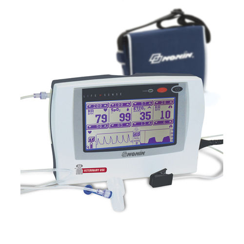 tabletop pulse oximeter / with capnograph / with separate sensor / veterinary