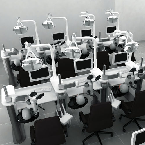 training dental laboratory workstation / modular / with light / with patient simulator