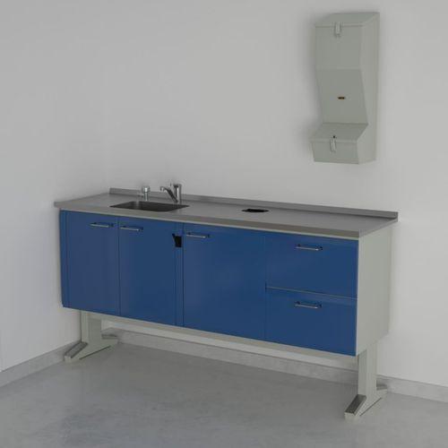 dental laboratory workstation with sink