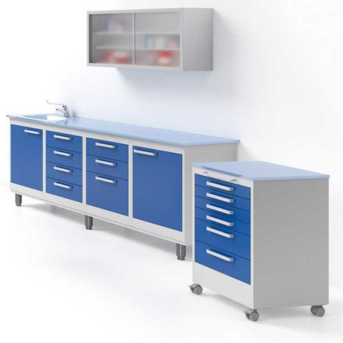 dental instrument cabinet / with drawer / with sink