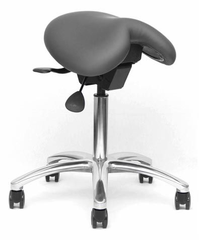 doctor's office stool / height-adjustable / saddle seat / on casters