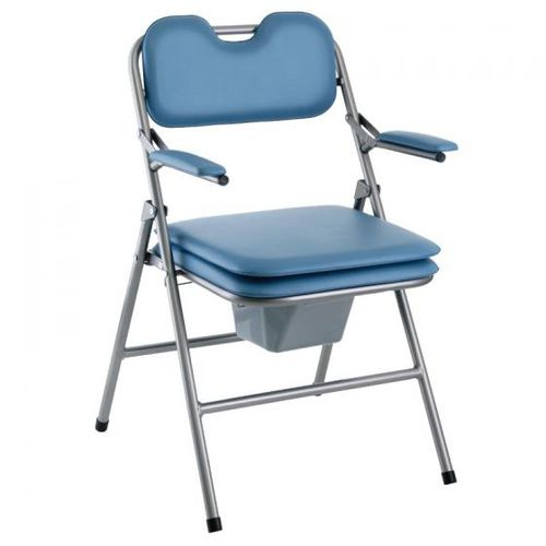 commode chair with armrests / with bucket / folding
