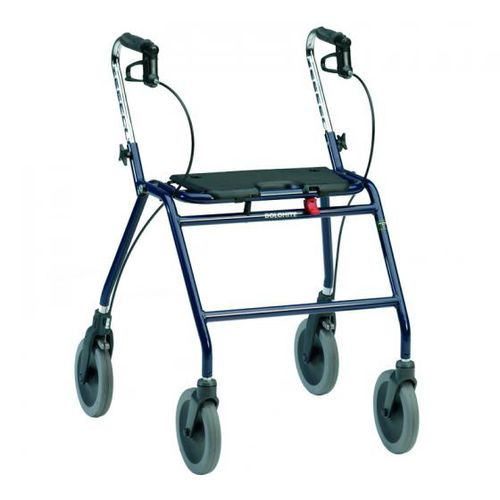 4-caster rollator / with seat / height-adjustable / bariatric