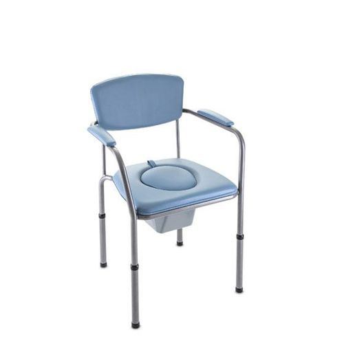 commode chair with cutout seat / with bucket / with armrests / height-adjustable