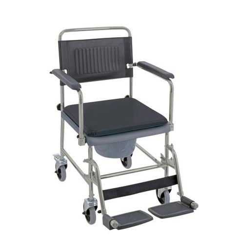 commode chair with bucket / with armrests / on casters