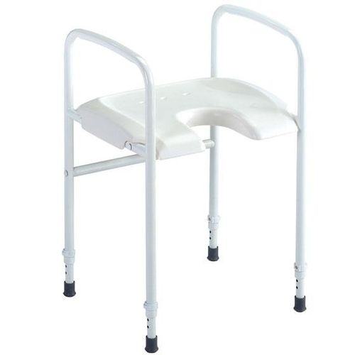 shower stool / with cutout seat / with armrests / height-adjustable