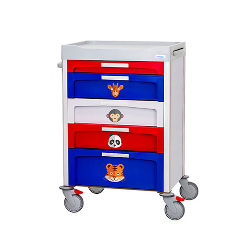 treatment trolley / 5-drawer / 1-tray / pediatric