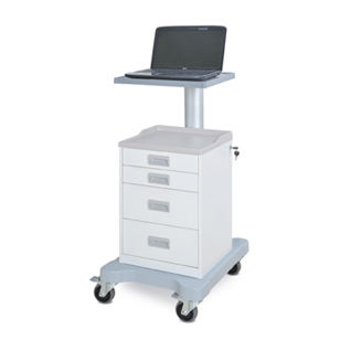 transport cart / for medical devices / with laptop support / 4-drawer