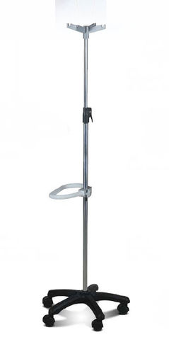 IV pole on casters / 4-hook / telescopic