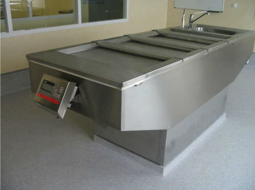 autopsy table / rectangular / stainless steel / with sink