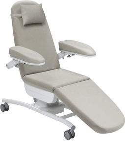 non-adjustable blood donor chair / 3-section / on casters