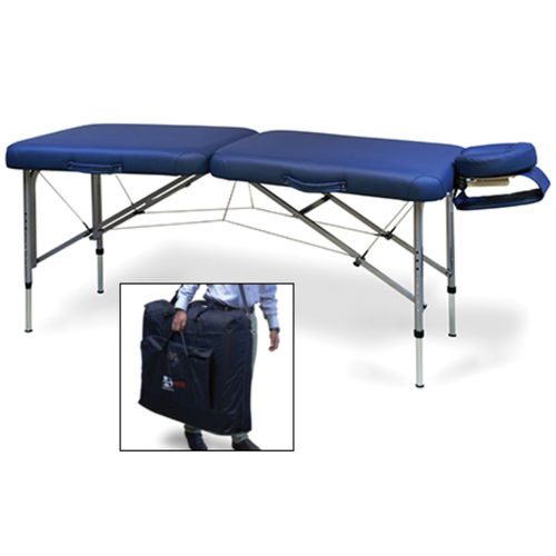 manual massage table / with headrest / height-adjustable / portable