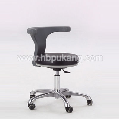doctor's office stool / height-adjustable / with backrest / on casters